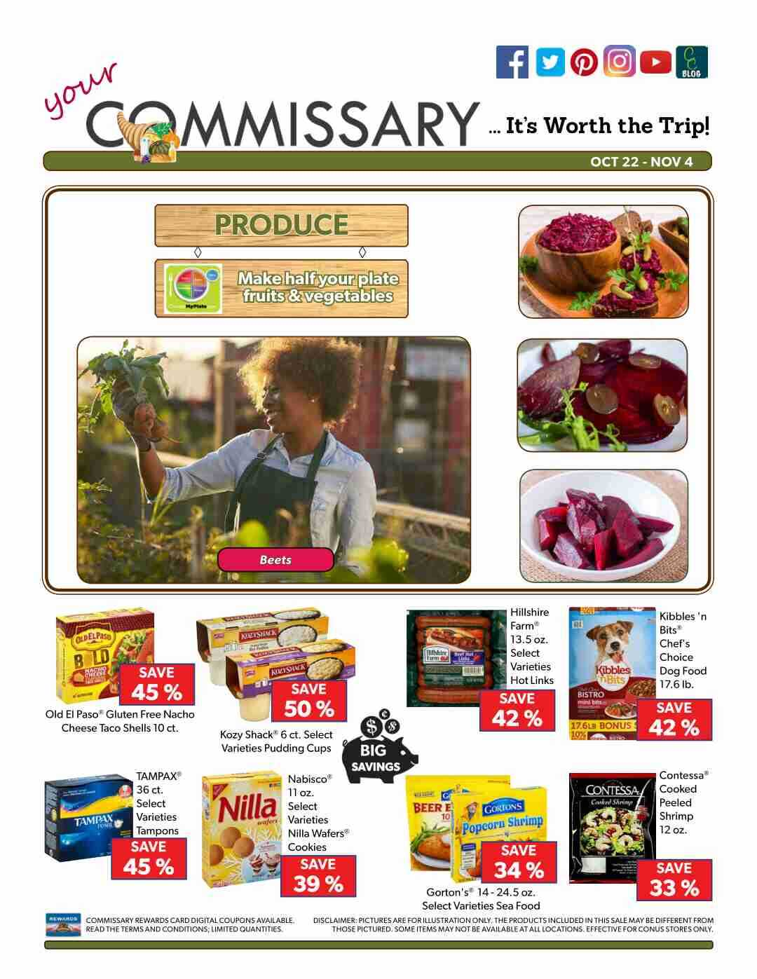 Offers commissary